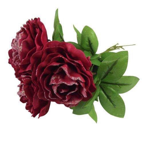 BUY 1 GET 1 FREE XL Glitter Rose Foam Open Bouquets Artificial Wedding Flowers