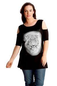 b1cdf700a640d Ladies Top Women Plus Size T Shirt Cold Shoulder Cut Out Tiger Print ...
