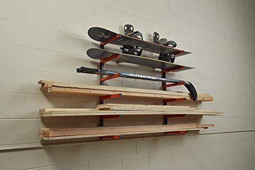 6 Shelf Lumber Storage Rack Wall-Mounted SteelWood Pipes Rack 600LB New