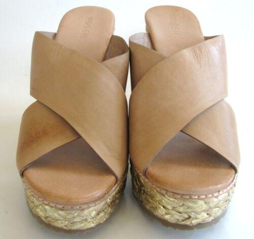 Cuir shoes Foncé Fossil Bronze X 5 Ramineh Band Neuf 8 size sandale Compensé 5Of6w4nq