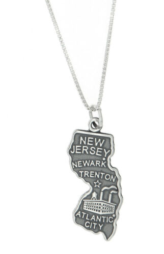 Sterling Silver State of New Jersey Charm with Box Chain Necklace