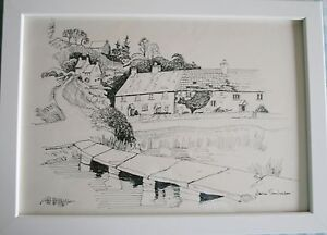 RIVER-STONE-BRIDGE-HOUSES-Original-Pen-Drawing-WHITE-FRAME-13-x-9-5-SALE
