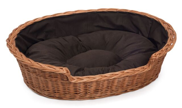 Prestige Wicker Dog Bed Basket With Cushion in Dark Brown