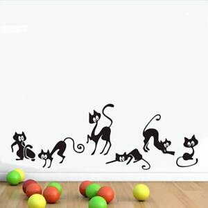 Lovely 6 Black Cats Wall Stickers PVC Decals Removable Home Living Room Decors