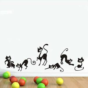 Lovely-6-Black-Cats-Wall-Stickers-PVC-Decals-Removable-Home-Living-Room-Decors