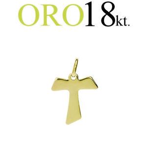 Adaptable Croce Tau Tao San Francesco Regalo Comunione Cresima Battesimo Oro Giallo 18kt. Nous Avons Gagné Les éLoges Des Clients