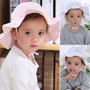 Kids Baby Girl Summer Sun Hat Bucket Hats Bonnet Beach Cap Wide Brim Floppy Hats