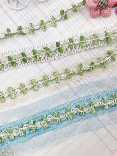 6 yard Ivory//Green Fancy Cord Rose Flower Satin Leaf Lace Trim//dress//sewing T202