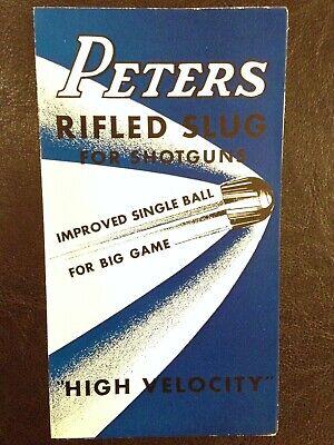 Vintage PETERS Cartridge Co Brochure Shotgun Rifle Slugs HIGH VELOCITY