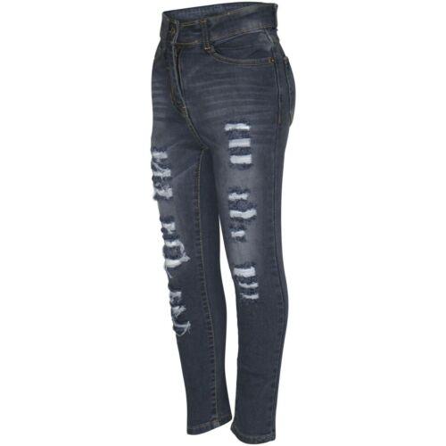 Kids Girls Skinny Jeans Grey Denim Ripped Fashion Stretchy Pants Jegging 5-13 Yr