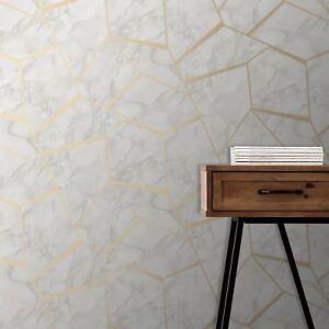 Fractal Geometrique Marbre Papier Peint Dore Blanc Decor Fin