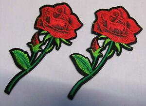 Set-a-2-Stueck-Rose-Rosen-Aufnaeher-Patch-Roses-Applikation