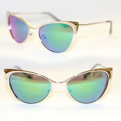 Cat Eye Sunglasses Full Metal Gold Silver Rockabilly 50's Mirrored 974 RARE