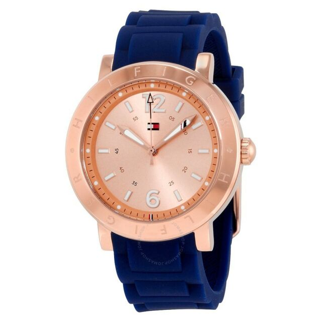 NEW TOMMY HILFIGER ROSE GOLD TONE,NAVY BLUE SILICONE BAND WATCH # 1781617