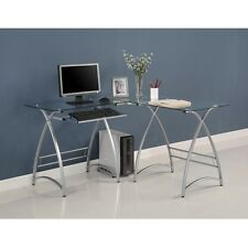 Walker Edison Innovative L-Shaped Glass Computer Desk Clear-Silver New D51AL30