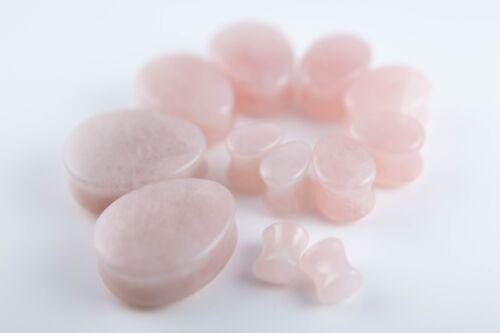 25mm 10siz Pair of Teardrop Pink Rose Organic Quartz Stone Plugs  ear lobe 6mm