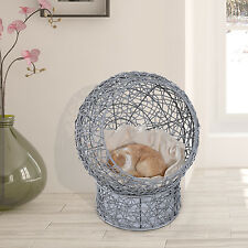 "24"" Wicker Elevated Cat Condo Pet Bed Hooded Cushioned Scratch Kitty House"