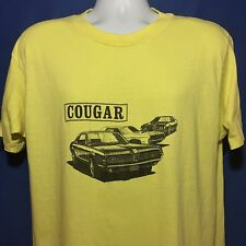 VTG 1980s Mercury Cougar T Shirt Thin Soft Muscle Car Automobile Yellow *L
