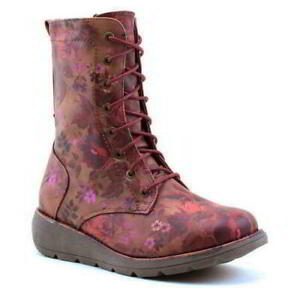 Heavenly Feet Martina Walker Womens Ladies Red Lace Up Wedge Boots Size 4-8
