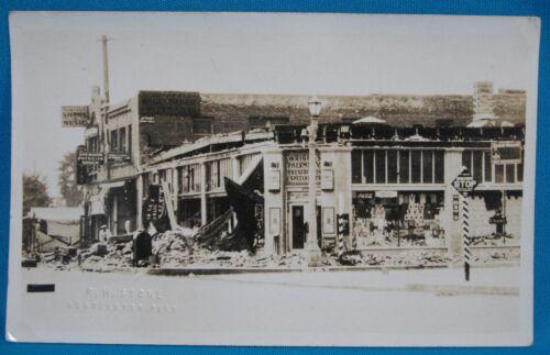 Earthquake Huntington Park CA Real Photo RPPC Souvenir Postcard EKC Stone 1933