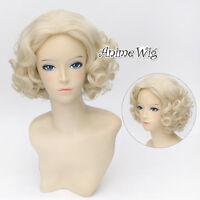 Amazing Anime Marilyn Monroe Blonde Curly 12 Cosplay Hair Wig + Wig Cap