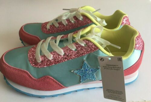 M/&S Kids Girls Pink//Blue//Yellow Mix Lace Up Trainers  UK4 /& 5  RRP £26
