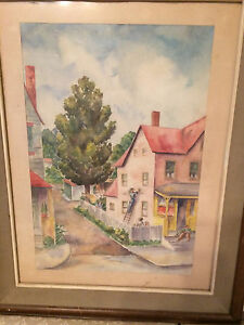 Large-K-Parry-034-Pink-House-034-Watercolor-Painting-Signed-And-Framed
