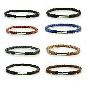 Mens-Leather-Bracelet-925-Sterling-Silver-Clasp-5mm-Genuine-Leather-Wristband