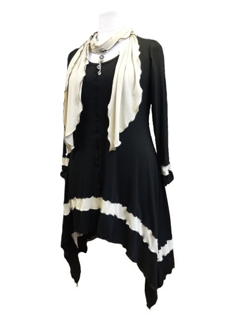 C72 Lagenlook  schwarz  Cream Tunic Scarf Top Long Sides Scoop Neck Made to Order
