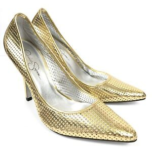 6ebcc7ead6fe Image is loading Jessica-Simpson-Gold-Perforated-Point-Toe-Platform-Pump-
