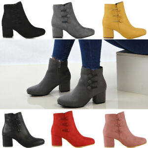 Womens-Low-Mid-Block-Heel-Ankle-Boots-Ladies-Zip-Button-Tie-Smart-Work-Office