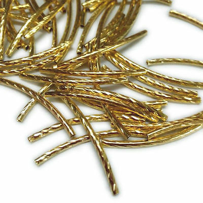 50pcs Brass Curved Tube Beads Spacer Bead DIY Jewelry Finding Golden Tone 35x2mm
