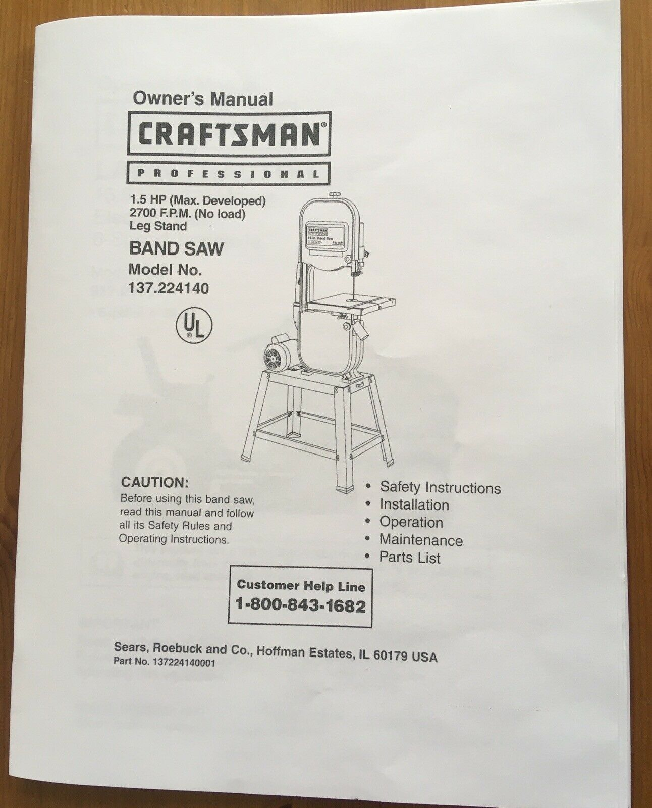 Craftsman Band Saw Model 137.224140 Operating Instructions & Parts Manual