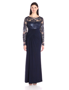Eliza J Women Long Sleeves Front Gathering Gown EJ7M4503  Navy  8.
