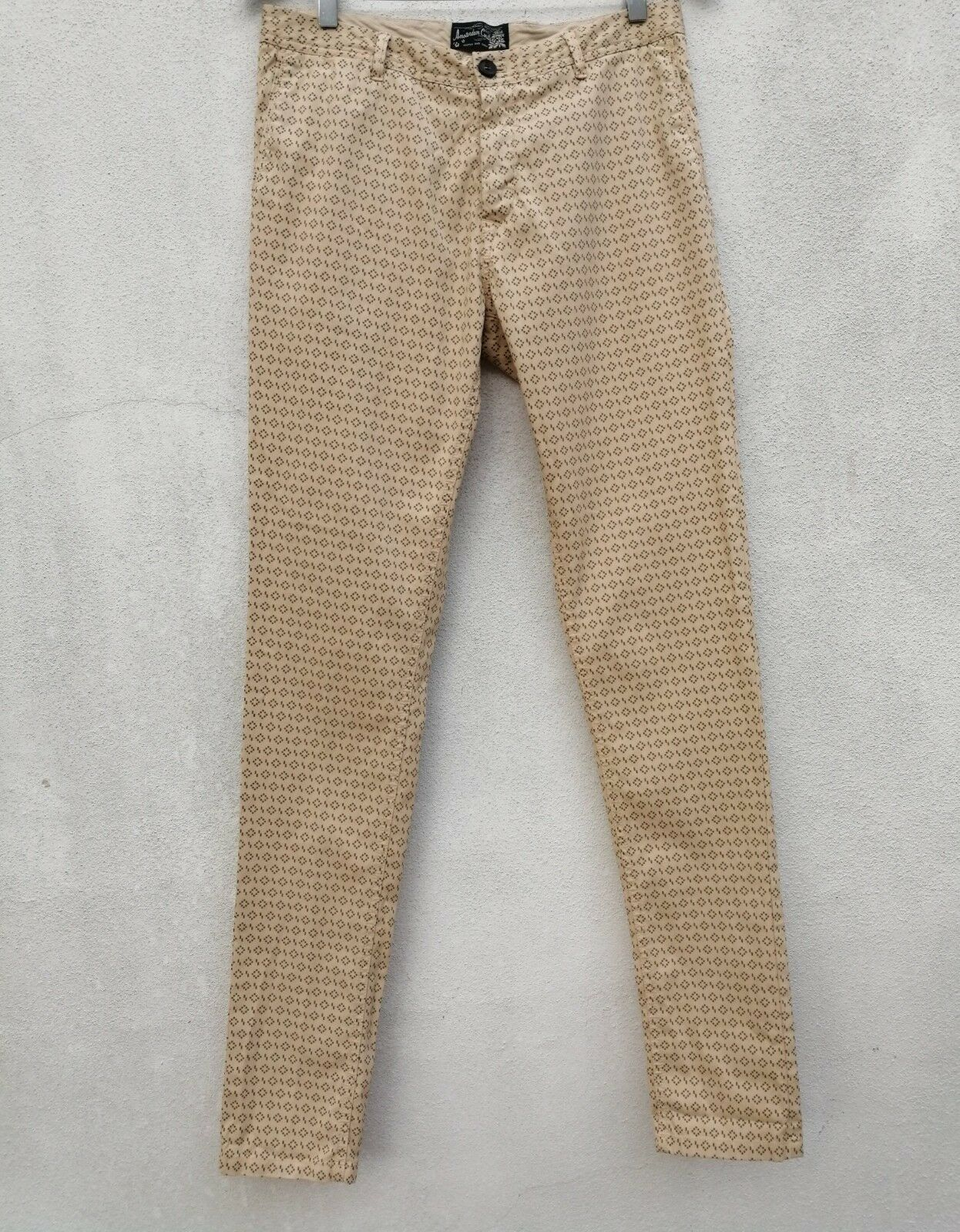 SCOTCH & SODA MOTT Men's SUPER SKINNY STRETCH Trousers Pants Beige Print W29xL34