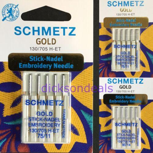 Embroidery Sewing Machine Needles Schmetz Titanium Gold Sizes 75//11 or 90//14