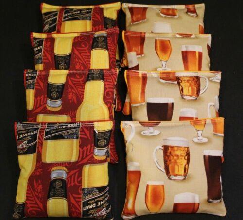 COLD BEER  Brewing fabric Yellow and Black 8 ACA Regulation Cornhole bags