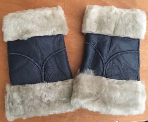 navy grey ladies women 100/% genuine real leather sheepskin finger less gloves