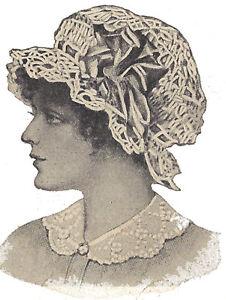 Vintage Crochet PATTERN to make Night Sleep Cap Mopcap Swimming Hat ... 992f08f6553