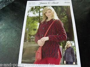 James C Brett Ladies Super Chunky Cardigan and Sweater Knitting Pattern JB334