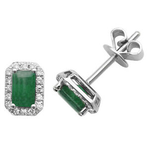 9ct White Gold Octogon Shaped Emerald and Diamond Stud Earrings