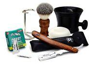 Straight Razor For Men's.wooden Handle Brush+razor,stand,blade, Mug &soap.