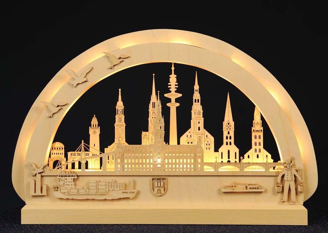 Lichterbogen Schwibbogen Hamburg Hamburg Hamburg mit LED Original Erzgebirge ca 30x40cm | Merkwürdige Form  4f166e