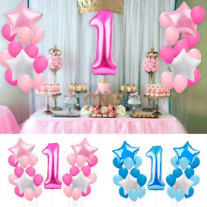 Image Is Loading 21pcs 1st Birthday Foil Balloons Party Decor Set