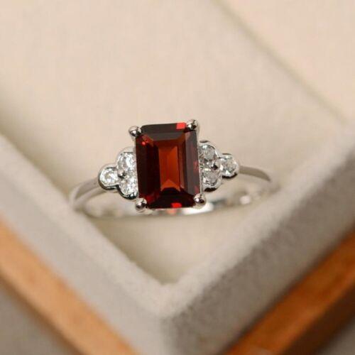925 Sterling Silver Handmade Natural Certified Garnet 5 Ct Engagement Ring