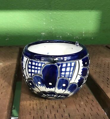 Talavera Planter Bowl BLUE Small H-4W-4 Authentic Mexican Pottery Hand Painted