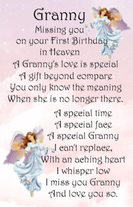 Details about A Female Graveside Card Nan mam Mam Missing you on your First  birthday no 03