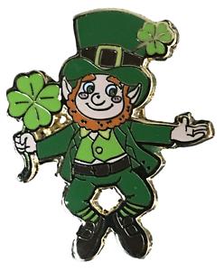 Duende Irlandés con trébol de cuatro hojas de oro San Patricio/'s Esmalte Insignia Pin de Solapa