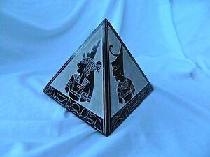 X-Large-Lourd-Egyptien-Basalte-Pierre-Pyramide-Ensemble-Pharaon-Horus-Isis