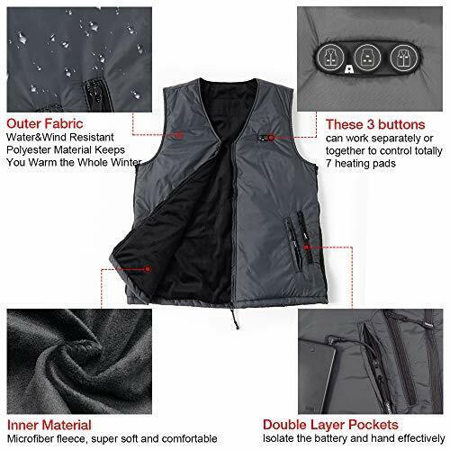 ARRIS Heated Vest Size Adjustable 7.4V Battery Electric Warm Vest for Hiking